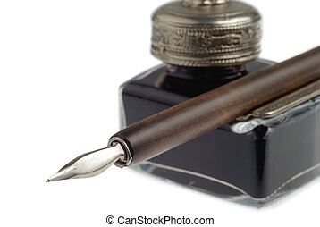 Old-Time Writer Set - Pen and inkpot isolated over white...