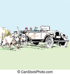 old timer car vector illustration