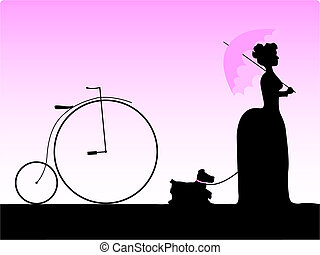 Old times - Vector silhouette of girl walking her dog in a...