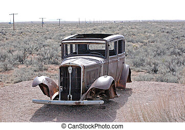 Old-Timey Car in the Desert