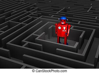 Old Tin Robot In Maze