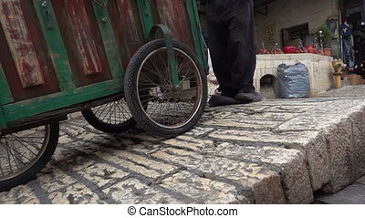 Old tire as a brake on steep stree - Using old tire as a...