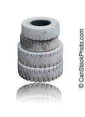 Old tires isolated on white background