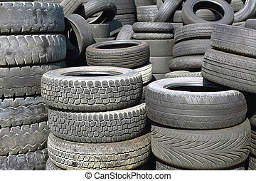 old tires - pile of old car tires for rubber recycling