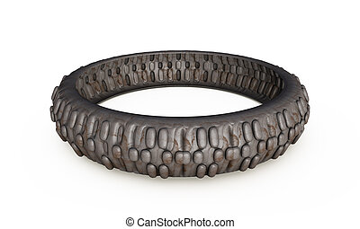 Old tires stacked, isolated on white background 3d render