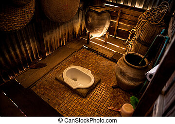 Old toilet in the Thai countryside home.