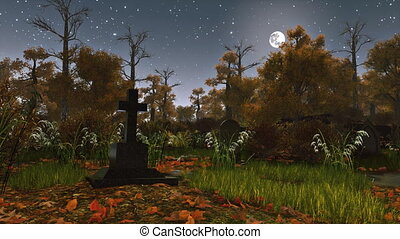 Old tombstone in creepy night forest 4K - Old tombstone at...