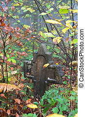 Old tombstone in the misty forest