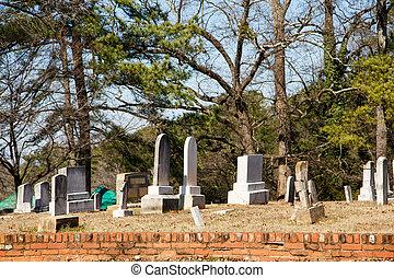 Old Tombstones Beyond Brick Wall