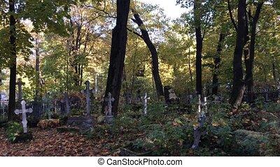 Old Tombstones in Graveyard in Autumn