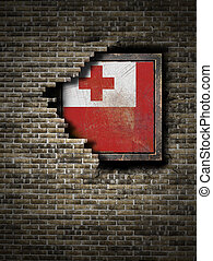 Old Tonga flag in brick wall