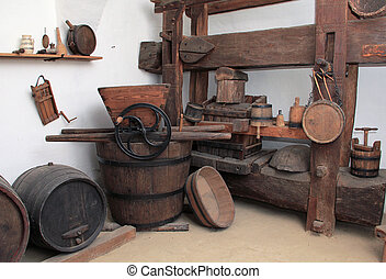 Old tools used in winemaking.