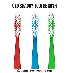 Old toothbrush. Vector