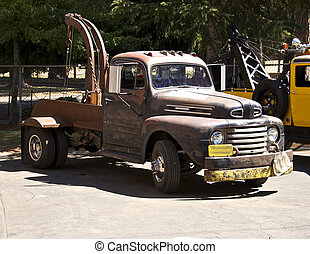 Old Tow Truck shows a lot of wear