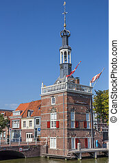 Old tower in the harbor of Alkmaar