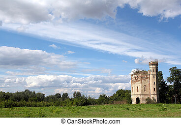 old tower landscape eastern europe