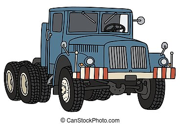 Hand drawing of an old blue towing truck