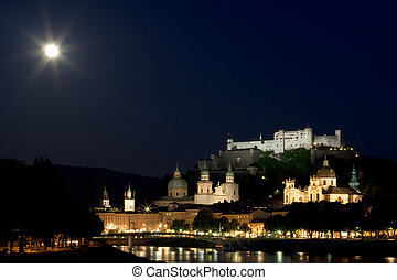 Old town and fortress in Salzburg at night
