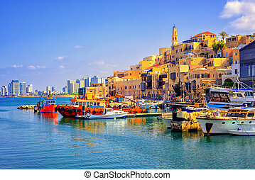 Old town and port of Jaffa, Tel Aviv city, Israel - Old town...