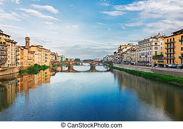 old town and river Arno, Florence, Italy