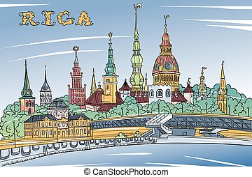 Old Town and River Daugava, Riga, Latvia - Vector sketch of...