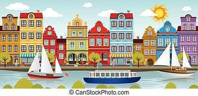 Old town and river (European city) - Vector illustration of...
