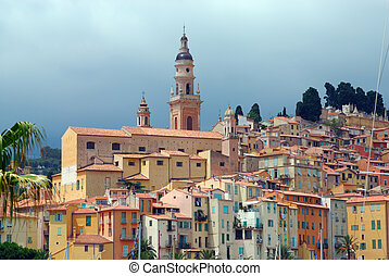 Old town and Saint-Michel church in Menton. French Azure coast