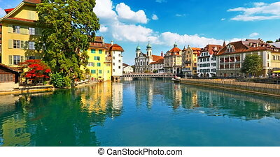 Old Town architecture of Lucerne, Switzerland - Scenic...