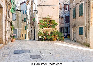 Old town architecture of Rovinj, Croatia. Istria touristic...