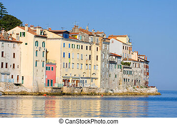 Old town architecture of Rovinj, Croatia. Istria touristic attraction