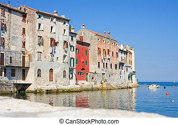 Old town architecture of Rovinj, Croatia. Istria touristic attraction