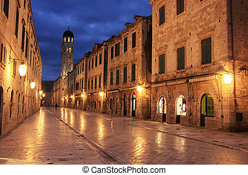Old town at night, Dubrovnik, Croatia