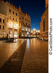 Old Town at Night in City of Krakow