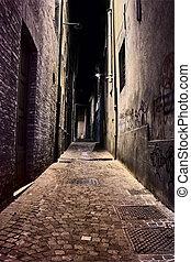 old town at night - italian alley at night - narrow dark...
