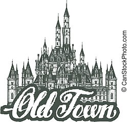 old town. Cartoon hand drawing houses. Vector illustration
