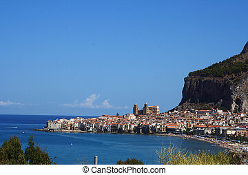 Old town Cefalu in Sicily at summer