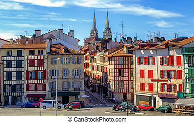 Old Town center of Bayonne, France