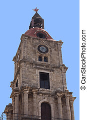 Old Town Church tower of Rhodes, Greece
