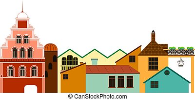 Old town cityscape. Vector colorful panoramic view of houses.