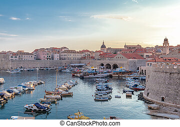 Old town dubrovnik and the hourbour during twilight
