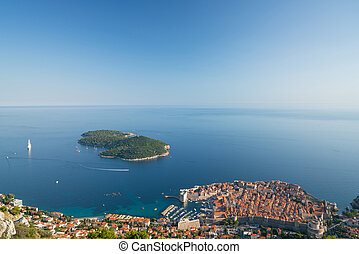 Old Town Dubrovnik, Lokrum Island and the sea landscape