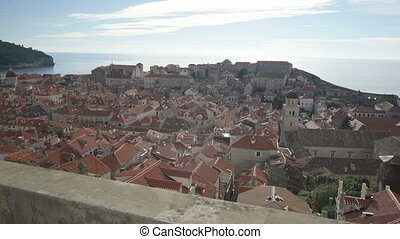 Old town Dubrovnik on sunny day view from the city wall,...