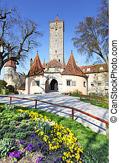 Rothenburg ob der Tauber - Old town gate of Rothenburg ob ...