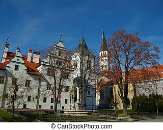 Medieval Town - Old Town Hall and Church in Medieval Town