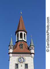 Old Town Hall of Munich at Marienplatz, Germany, 2015