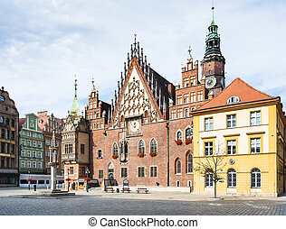 Old Town Hall on Market Square in Wroclaw city