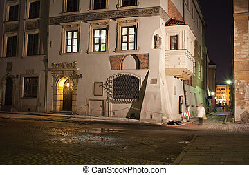 Old Town Houses in Warsaw at Night