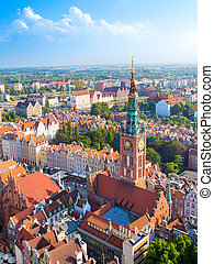 Old Town in Gdansk, aerial view from cathedral tower
