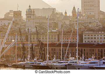 Old town in Genoa accross the harbor