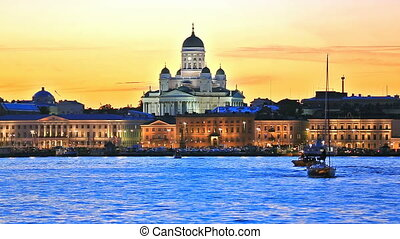Old Town in Helsinki, Finland - Scenic evening view of the...